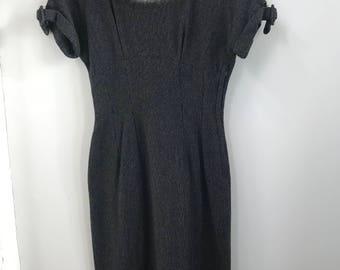 Vintage Women's Dress,  Custom Made Wool Sheath Dress with Angora Collar