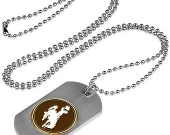 Wyoming Cowboys Stainless Steel Dog Tag Necklace