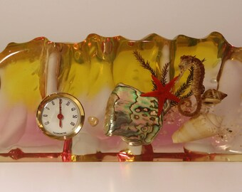 VGE 50s 60s Large Lucite Perspex Sealife Seahorse Starfish Aquarium Paperweight with thermometer