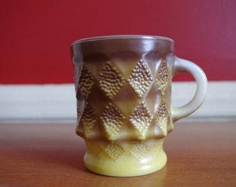 Vintage Fire King Anchor Hocking Kimberly Mug Diamond Pattern Yellow Brown Ombre