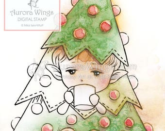 Digital Stamp Instant Download - Little Christmas Tree - Elf - Whimsical Holiday Line Art for Cards & Crafts by Mitzi Sato-Wiuff