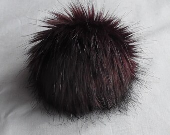 Size M (red brown wine) faux fur pom pom 4.5 inches/ 12cm