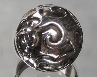 Vintage Sterling Silver Swirl Ring Sz 5.75 M84