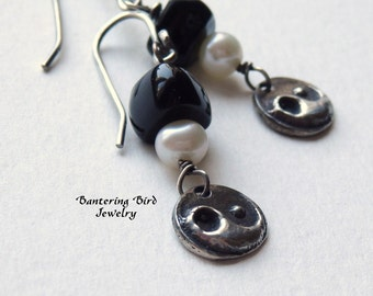 Black and White Yin Yang Earrings, Sterling Silver Charms with White Freshwater Pearl and Black Onyx Gemstone, Small Earrings
