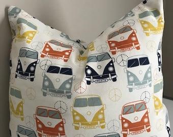 Pillow cover, throw pillow, bus, vw, fun pillow, novelty pillow, 16x16