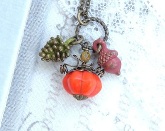 Fall Charm Necklace Small Pumpkin Necklace Autumn Necklace Small Pine Cone Necklace Woodland Gift