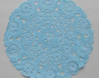 TEN dip dyed TURQUOISE BLUE Paper Doilies, 8, 10 or 12  inch, Medallion Style
