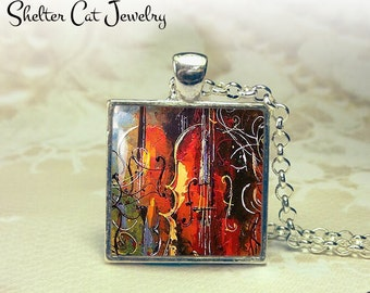 """Violin Abstract Necklace - 1"""" Square Pendant or Key Ring - Handmade Wearable Photo Art Jewelry - Colorful Music, Instrument, Art Gift"""