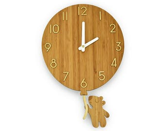Teddy Bear & Balloon - Bamboo Wall Clock - Children's Room Decor - Nursery Decor - Baby Shower Gift - Kid Friendly Clock - Simple Wall Clock