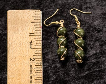 Gold Wire Wrapped Green Glass Bead Dangle Earrings