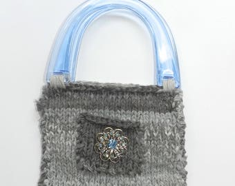 Hand Knit Grey and Blue Cotton Bag - Cornflower