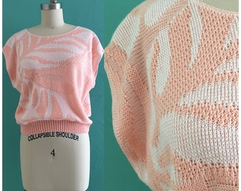 vintage 80's peach cap sleeve knit top // spring leaf sweater