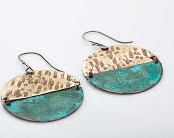 Cerrillos Earrings - Verdigris Patina, Brass, Moon, Circles, Geometric, Green