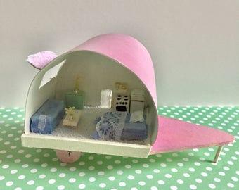 Cute miniature caravan shabby pastel colors sweet miniature trailer