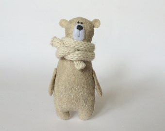 Felt Bear In Knitted Scarf, Stuffed Bear, Gift for Her, Felted Miniature Animals, Felt Animals, Teddy Bear Toy, Woodland Plushie