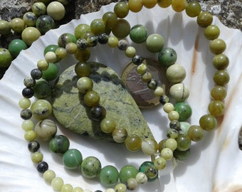 SERPENTINE (JADE) bracelet round beads on elastic thread