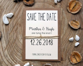 Tying The Knot Save the Date Cards, Unique Rustic Save The Dates, Save The Dates Announcements, Country Simple Funny Save The Date Cards