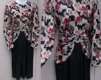 Vintage 80s does 1940s Peplum Dress // Size Med - 10 12