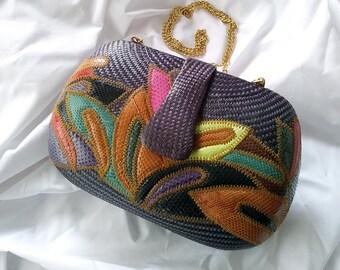 Beautiful Purple & multicolored Snake skin Patchwork Bequizo International purse, 80s, 90s, Vintage, shoulderbag, woven basket, Philippines