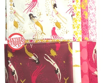 Mendocino Heather Ross Windham Fabrics, Fat quarter 8-pc set - Pink/Yellow Palette cotton quilting fabric bundle