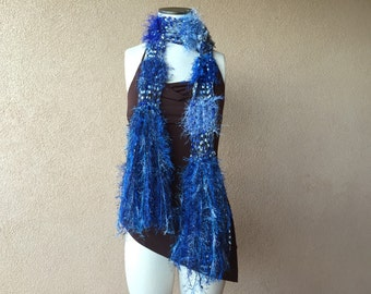Lightweight Blue Scarf, Skinny Boho with White, Black, Silver Grey, Airy Scarf Blue with Fringe, Sparkle, Royal Blue Scarf, Deep Blue Scarf