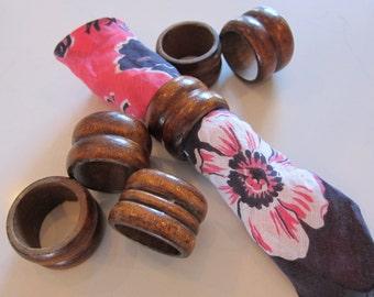 6 Vintage Wooden Napkin Rings