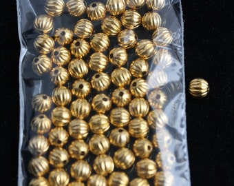 Corrugated Round Metal Beads 6mm Hamilton Gold plated