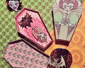 enamel pin SECONDS SALE-bat skull leyak witch demon horror pins pin set pair in custom coffins