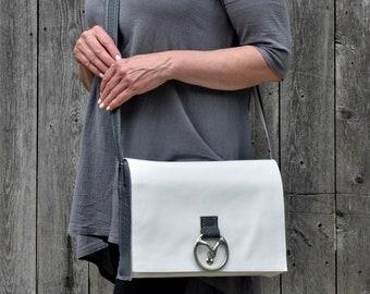 White Crossbody Bag, White Leather Satchel, White Leather Bag, White Leather Purse, White Handbag, White Cross Body Bag, White Messenger Bag