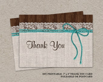 Printable Rustic Wedding Thank You Card Bridal Shower Thank