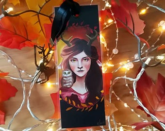 The spirit of autumn - illustrated, laminated bookmark handmade