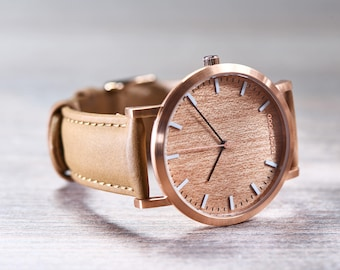 Wood Watch For Her, Cherry Wood Rose Gold Watch, Brown Leather Strap