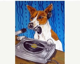 25% off Jack Russell Terrier Dj Dog Art Print  JSCHMETZ MODERN abstract folk pop art AMERICANA