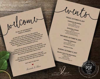 Wedding Welcome and Itinerary card, editable PDF template, Timeline card, Wedding weekend, welcome bag, welcome box, rustic theme (TED406_5)