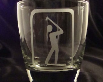 Etched Golfer Barware - Set of 4 Hi-Ball Glasses