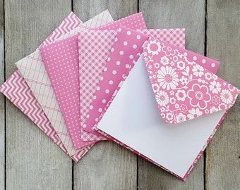 Pink Mini Envelopes, Blank Mini Cards