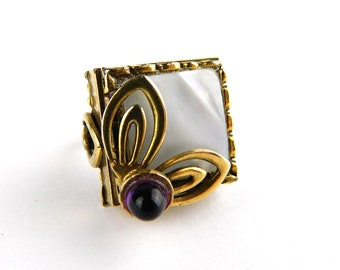 Vintage Heavy Gothic Gold Mother of Pearl and Amethyst Ring - MOP - Layered 3 Dimensional - Adjustable - Unique