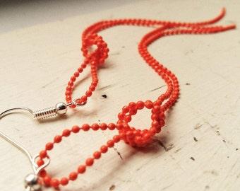 Orange knot ballchain earrings