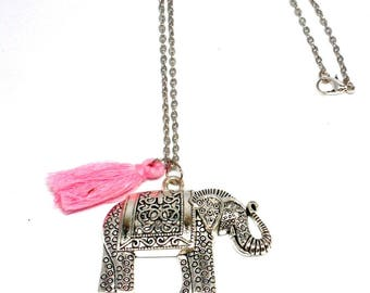 Large elephant pendant and tassel necklace pink