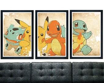 Pokémon Trilogy Poster Set, Bulbasaur, Pikachu, Squirtle, Charmander