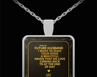 Gift for Boyfriend - Gold Necklace - Silver necklace - Necklace Gift - Sentimental Gift for Boyfriend - Special Couple Gift (square pendant)