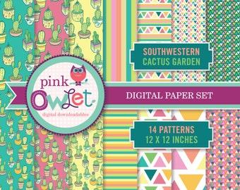 Southwestern Cactus Garden Set of 14 Digital Paper Patterns