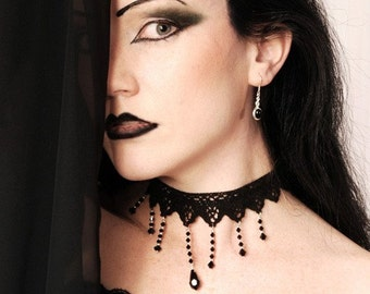 Victorian choker necklace Elegant Black lace swarovski gothic Teardrop cascade NIGHTFALL