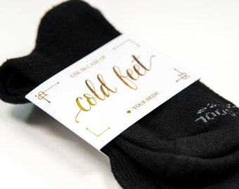 Cold Feet Sock Wrapper| Gold Cold Feet Label | Just in case you get cold feet| Groom Gift