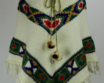 Vintage 1970s Wool Poncho with Pom Poms and Fringe