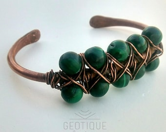 Copper and Malachite Wire Wrapped Cuff Bracelet