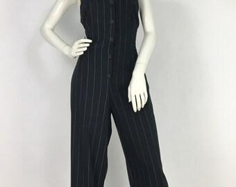 90s pinstriped jumper/1990s jumper/90s romper/vintage jumpsuit