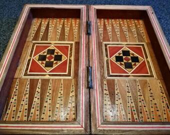 Handmade Oriental Luxury  Backgammon Tavla Schach Chess Inlay wood craftmenship Mini