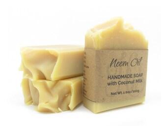 Pure Neem Oil Soap   Handmade Soap   Cold Process Soap   Natural Soap   Vegan Soap