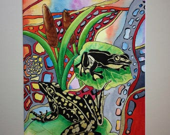 original watercolour and ink painting, frogs
